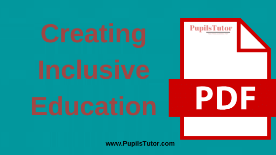 TNTEU (Tamil Nadu Teachers Education University) Creating Inclusive Education PDF Books, Notes and Study Material in English Medium Download Free for B.Ed 1st and 2nd Year