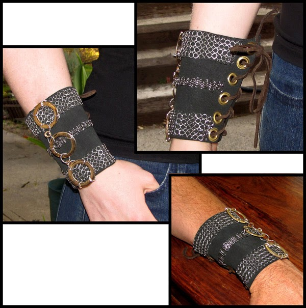 http://brackendesigns.com/product/medieval-or-post-apocalyptic-style-gauntlet-wrist-cuff-leather-chain-maille-and-metals?tid=60