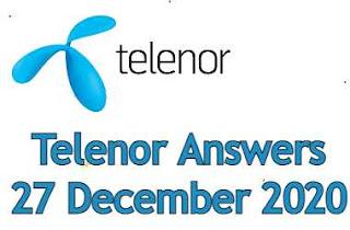 27 December Telenor Quiz Today | Telenor Answers 27 December 2020