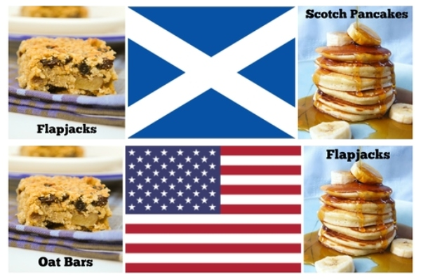 A collage showing the difference between American flapjacks (pancakes) and Scottish flapjacks (oat bars)