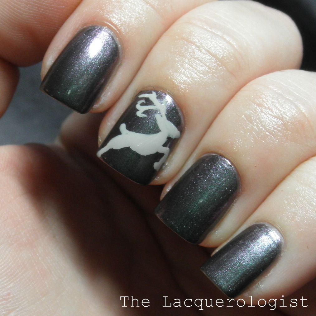 Holiday Reindeer Accent Nail Looks Featuring Priti NYC & Born Pretty ...