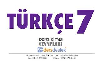 7. Sınıf Türkçe Çalışma Kitabı Cevapları Ders Destek Yayınları