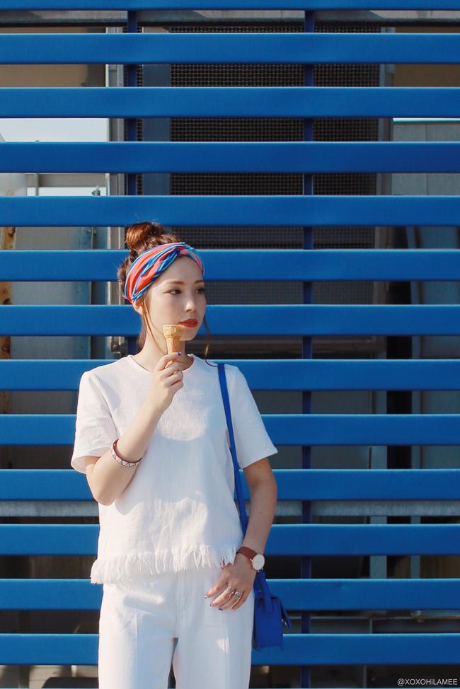 日本人ファッションブロガー,Mizuho K,20170805今日のコーデ,ZARA-ホワイトデニムトップス、ホワイトデニムキュロットパンツ、マルチカラーヘアバンド,ブルーミニバッグ,SheIn-フェイクパール赤スリッパ、Andreas ingeman-腕時計、ピンクベルト IKEA