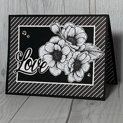 Black and white floral Valentine card using Stampin' Up! Forever & Always Bundle of stamps and dies.