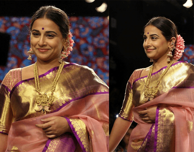Vidya Balan sporting The Bun with a Gajra Hairstyle