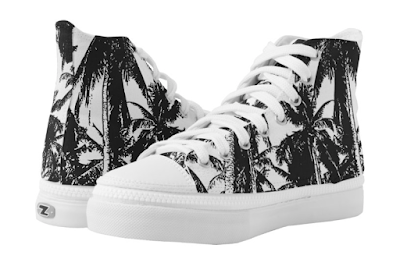 Shoes with black and white pattered of palm trees