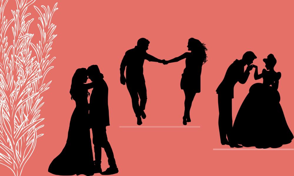 Silhuetas de casais icônicos de filmes românticos