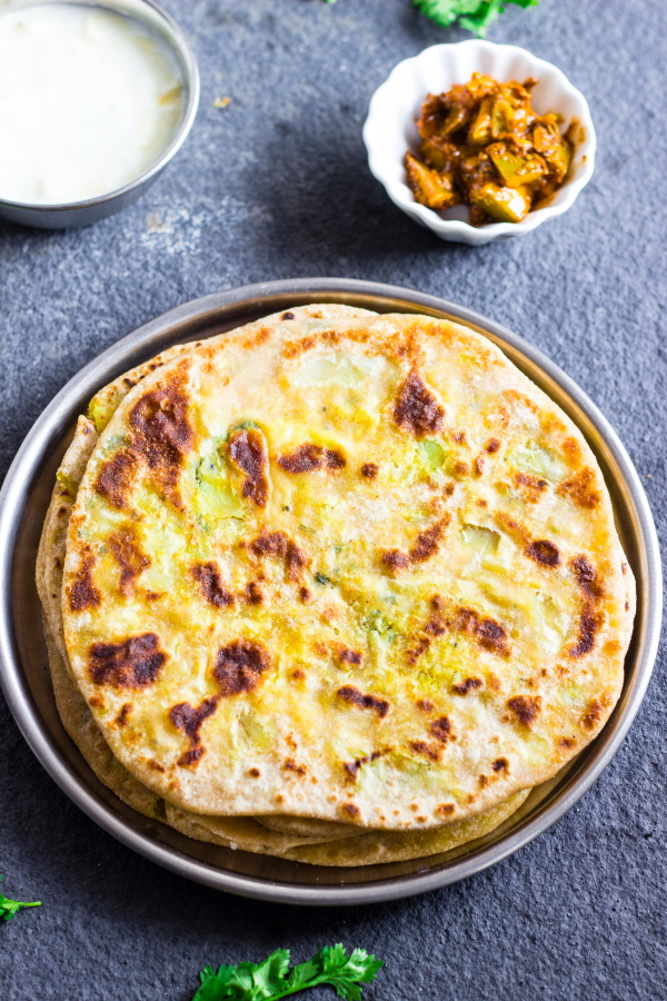 How to make shakharkand aloo cheese paratha recipe at www.oneteaspoonoflife.com