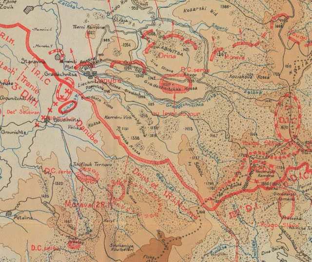Part of a French map depicting the advance of the Entente armies during the Breakthrough of the Macedonian front (15-16 September 1918)