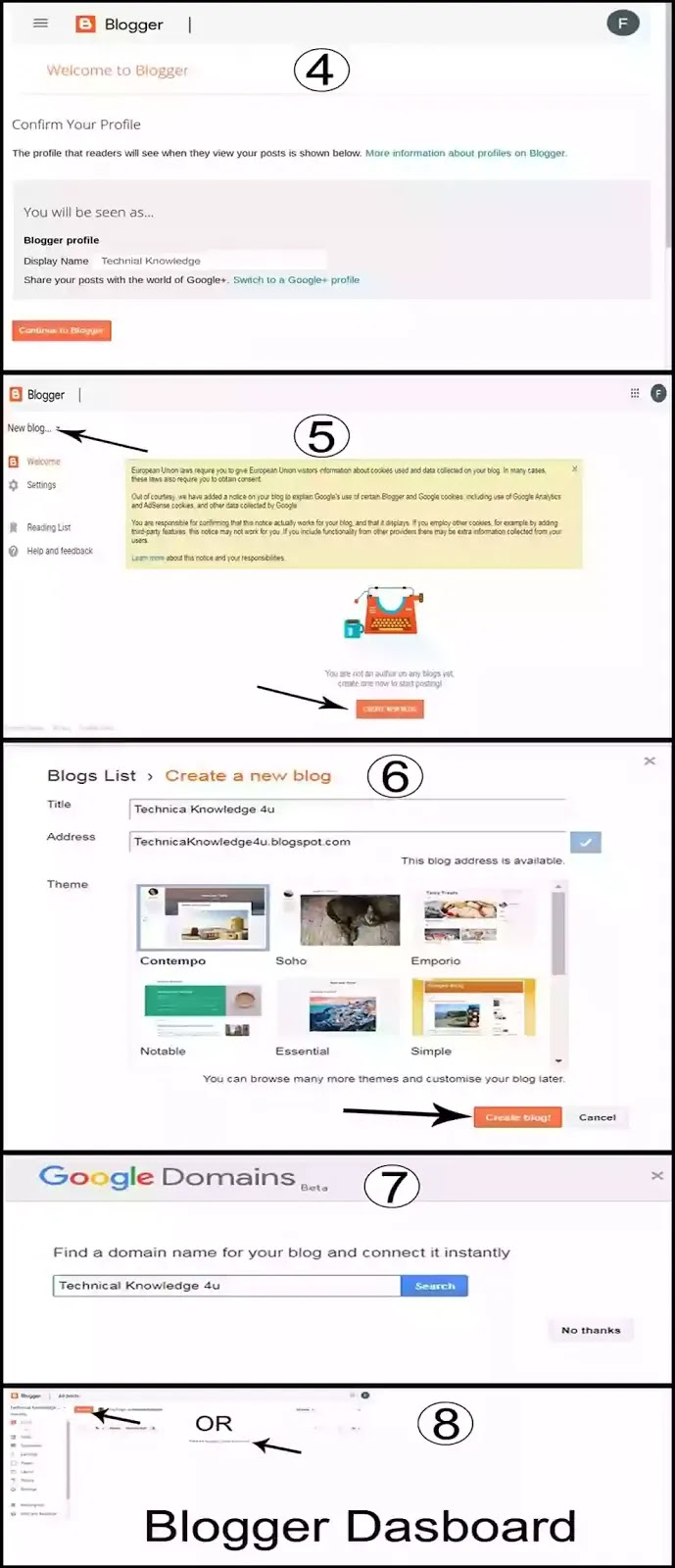 How to create a website using blogger in hindi step by step [ Full Guide] ,blogger dasboard,Blogger Home Page,google domain,blogger Profile Name Blogger website create