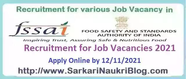 FSSAI Job Vacancy Recruitment 2021