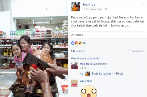 Babi Panggang Cemari Pasar Mini di Parit, Perak