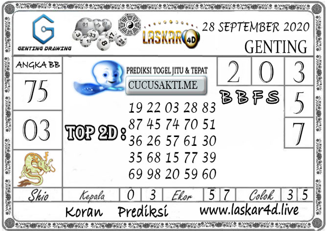 Prediksi GENTING DRAWING LASKAR4D 28 SEPTEMBER 2020