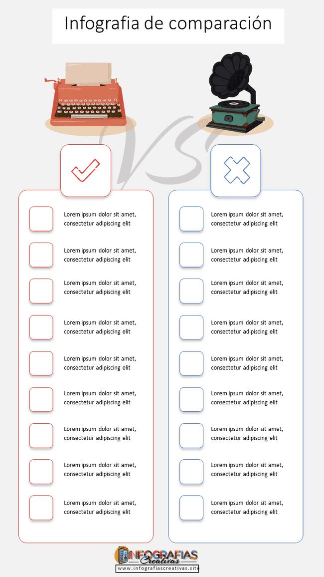 Plantilla de infografia comparativa modelo 11