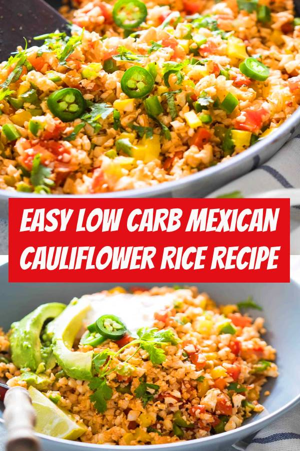 Easy Low Carb Mexican Cauliflower Rice is a healthy, paleo friendly, keto friendly, vegan side dish recipe that is bursting with Mexican flavors and ready in 30 minutes! #lowcarb #keto #cauliflower #vegan #sidedish #cauliflowerrice