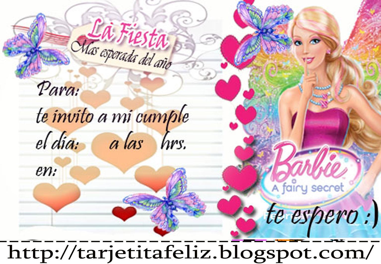 Tarjetas De Cumpleaños Para Imprimir Invitación De La Barbie