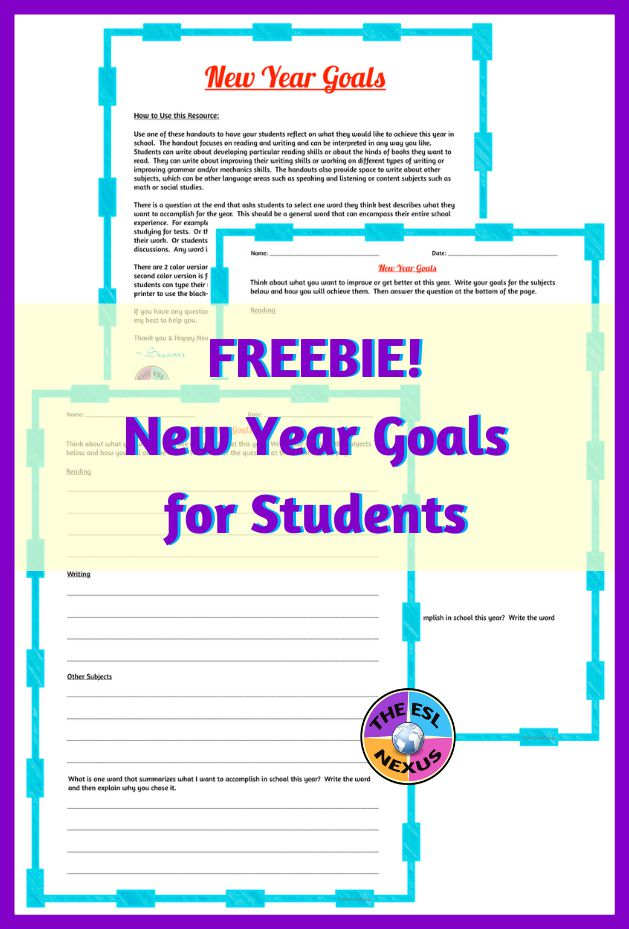 Grab this freebie that helps your students determine their goals for the new year | The ESL Nexus