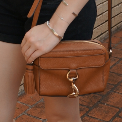 denim shorts, rebecca minkoff MAB camera bag in almond gold hardware | awayfromtheblue