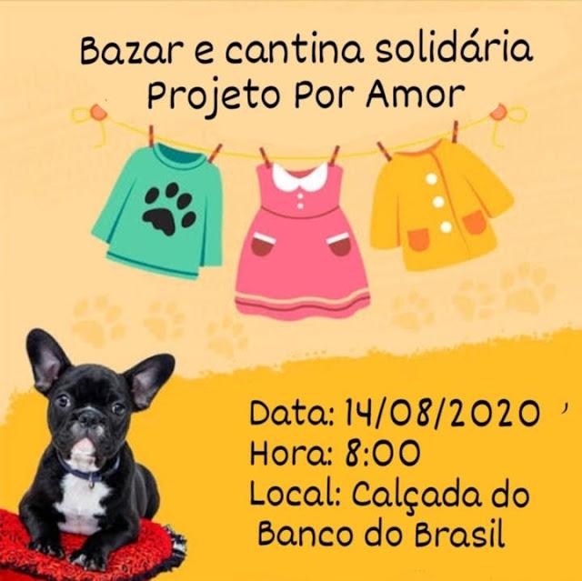 """Grupo protetores de animais """"Por Amor"""" em Caraúbas realizam bazar beneficente em feira livre neste sábado"""