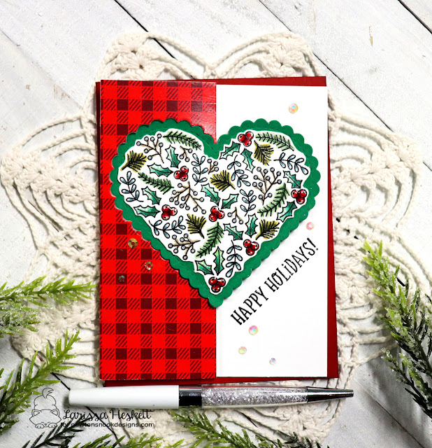 Happy Holidays Card by Larissa Heskett | Heartfelt Holidays Stamp Set, Meowy Christmas Paper Pad and Heart Frames Die Set by Newton's Nook Designs