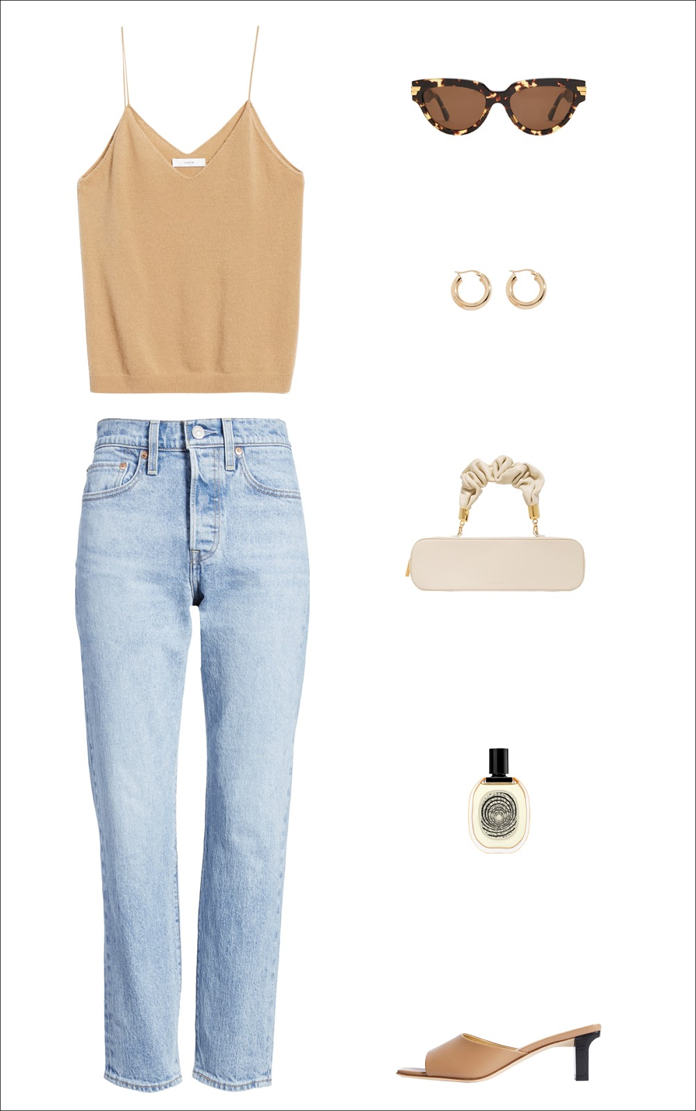 Neutral End of Summer Outfit Idea — Camel Cashmere Tank Top, Cat-Eye Sunglasses, Gold Hoop Earrings, Beige Mini Bag, Levi's Straight-Leg Jeans, Diptyque Perfume, and Tan Mule Heels