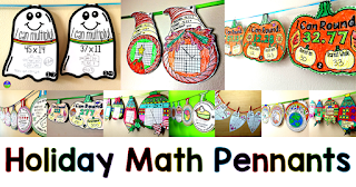 Holiday math pennant activities for Halloween, fall, Thanksgiving, Pi Day, Christmas, Valentine's Day, Back to School, Earth Day, Easter, winter