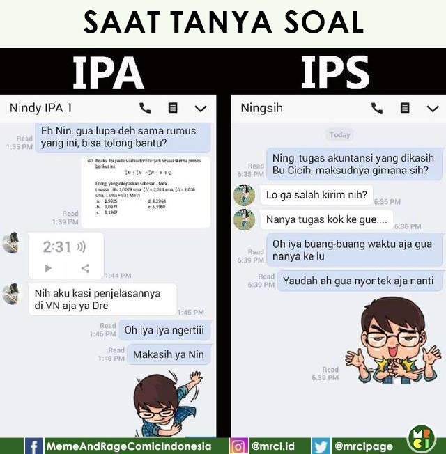 10 Meme Chat 'Anak IPA vs Anak IPS' Ini Kocaknya Bikin Ingat Masa SMA
