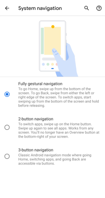 Toggle Fully Gestural Navigation option