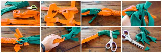 Step-by-step how to make an Easter dog tug toy shaped like a carrot