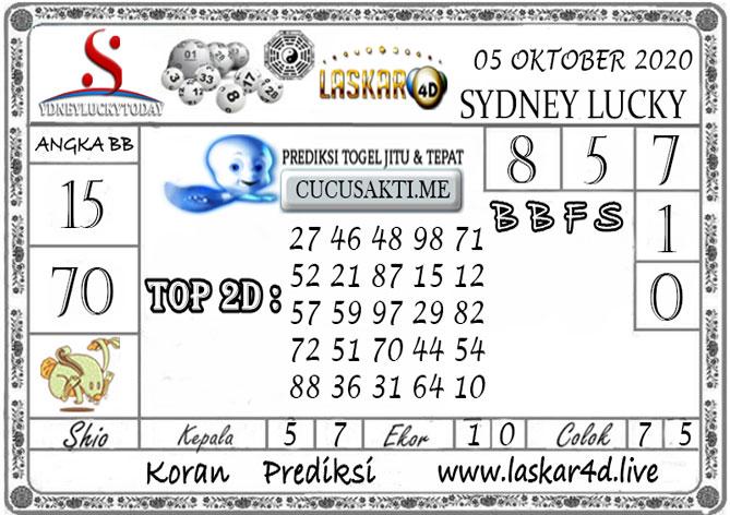 Prediksi Sydney Lucky Today LASKAR4D 05 OKTOBER 2020