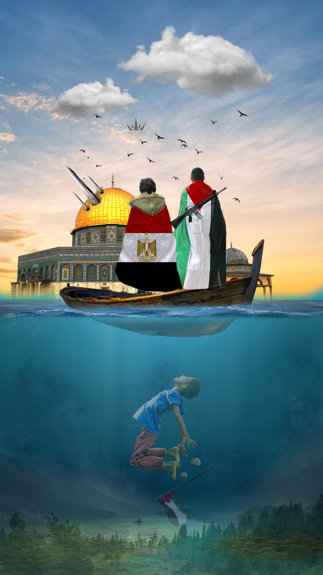 اجمل خلفية تصامن مع فلسطين علم مصر وعلم فلسطين Flag Egypt and Palestine