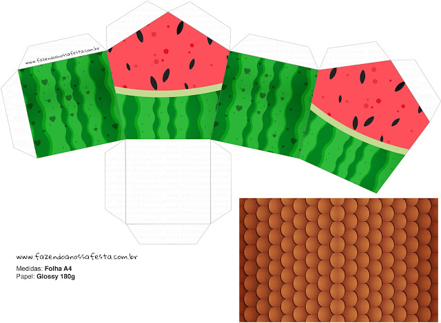 Watermelon Heart: Free Printable House Shaped Box.
