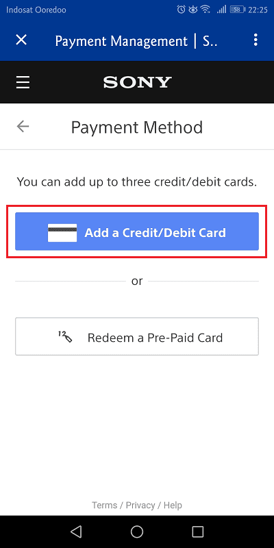 pilih add a credit/debit card