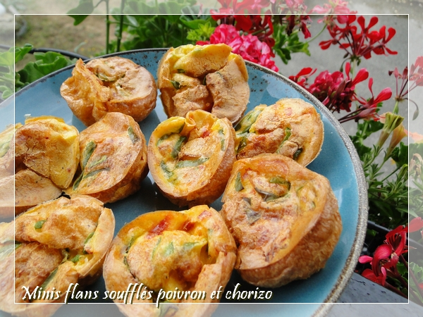 Minis flans soufflés poivron et chorizo, sans gluten