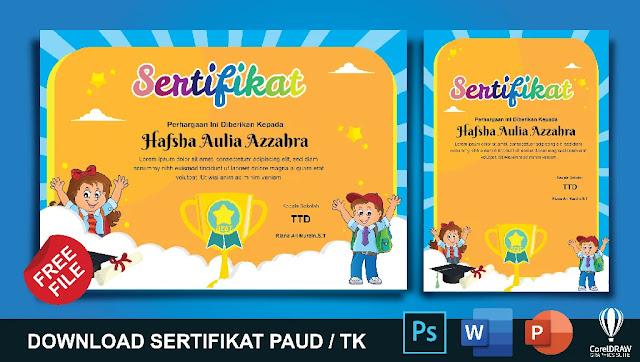 Download Kumpulan Contoh Sertifikat PAUD Dan TK Microsoft Word Gratis