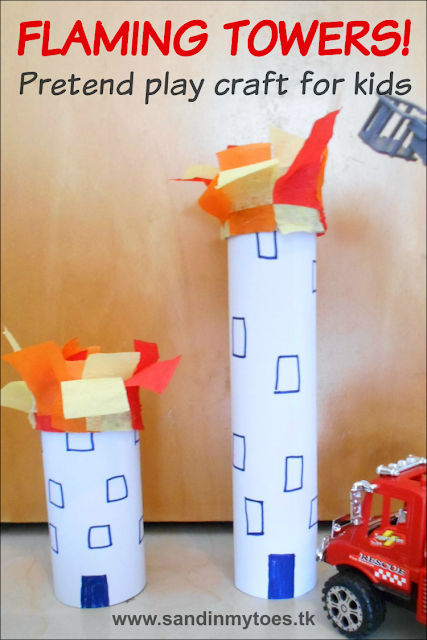 A fun craft to make towers on fire for pretend play with fire engines.