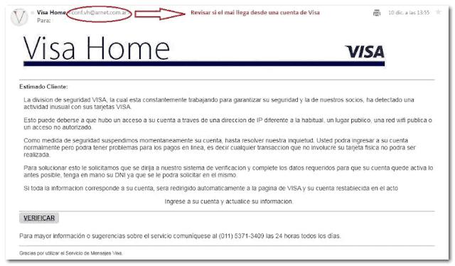 Email estafa de Visa