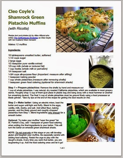 Cleo coyle recipes shamrock green pistachio muffins with pdf of this recipe forumfinder Image collections