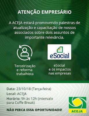 Aceja promove palestra sobre terceirização,  reforma trabalhista e e-social
