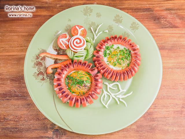 Цветок из сосиски на сковородке: пошаговый рецепт