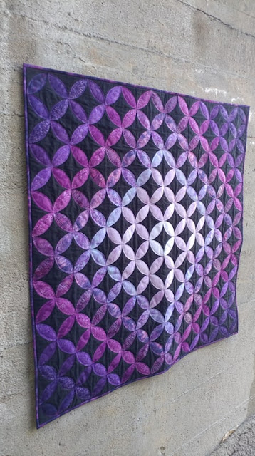 Purple ombre orange peel quilt with Island Batik fabrics