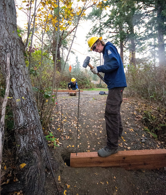 A WCC AmeriCorps member wearing a yellow hard hat pounds rebar into a piece of wood stretching across a trail.