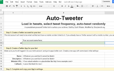 Auto Tweet Bot Google Spreadsheet