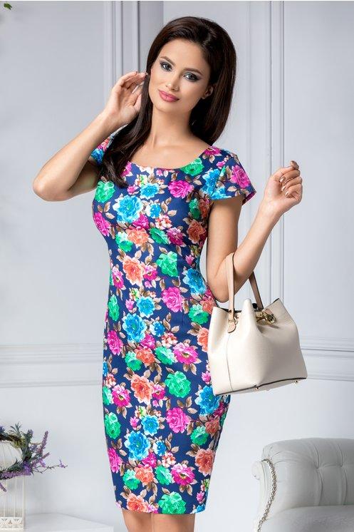 Rochie bleumarin eleganta de zi cu imprimeu pastelat cu trandafiri