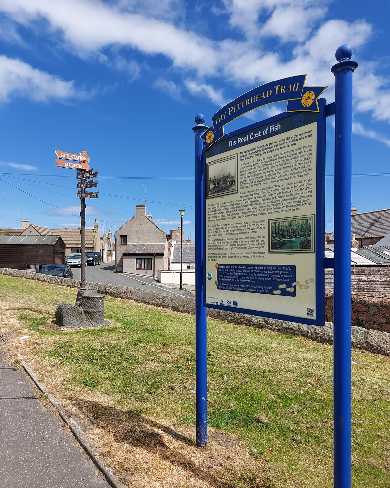 blue Peterhead Trail sign at Port Henry Road