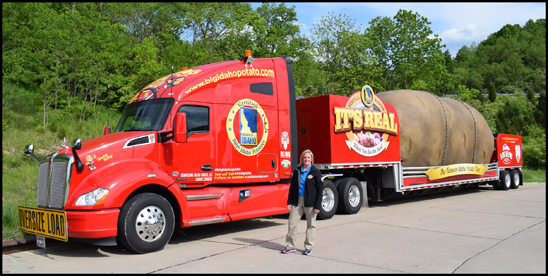 Driver Melissa Bradford with the 2020 Kenworth T680 hauling the Big Idaho Potato