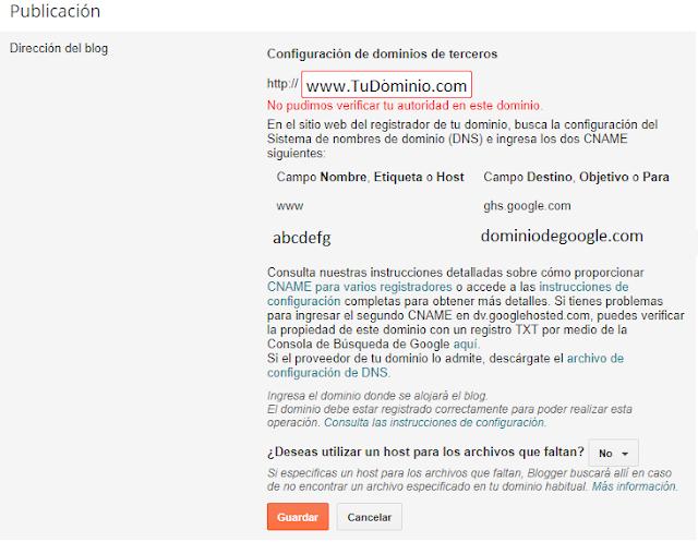 Error de Verificación de Autoridad de dominio en Blogger