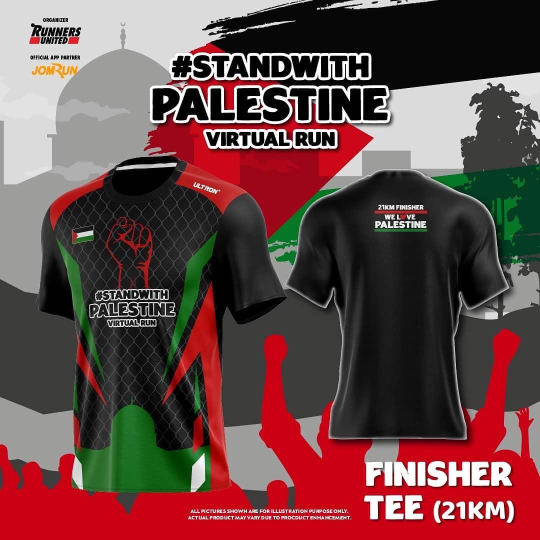 Tee 21K 👕 Stand With Palestine Virtual Run - Indonesia • 2021