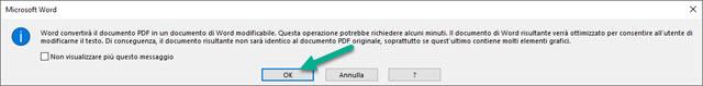 avviso della conversione del PDF in Word