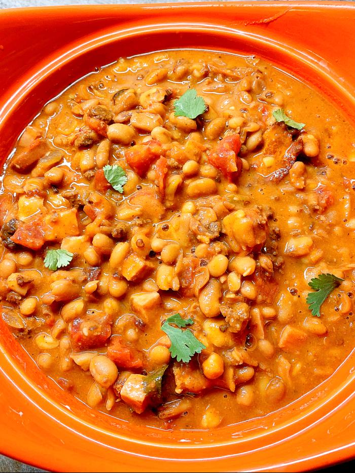 Charro Beans/ Mexican Cowboy Beans in pot